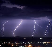 Quad Lightning Strike - South East Melbourne by Stephen Titow