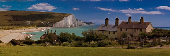 Coastguard Cottages and the Seven Sisters, England by Chris Lord