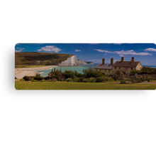 Coastguard Cottages and the Seven Sisters, England Canvas Print