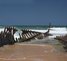 Shipwreck of SS Dicky, Dicky Beach, Caloundra by smallan