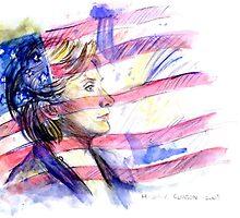 Hillary Clinton Portrait by Delin