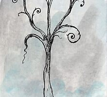 Gothic Tree - ACEO Pen & Ink Watercolor Painting by Jacquie Gouveia