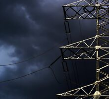 Power line against a stormy sky by Gabriel Skoropada