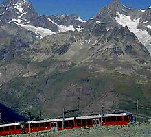 Gornergrat Train Zermatt Switzerland by Monica Engeler