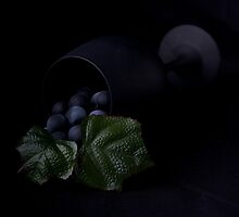 Grapes and wine glass by Jeffrey  Sinnock