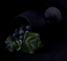 Grapes and wine glass by Jeffrey  Sinnock