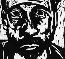 self portrait #3 in woodcut by Anthony DiMichele