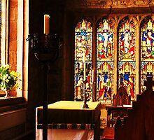 Altar, St Dyfnogs Church, Llanrhaeadr, North Wales. by artfulvistas