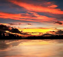 Reflections of a Sydney sunset (Squashed) by Bill Atherton