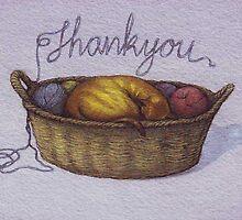 Cat in Basket, Thankyou by Nestor
