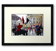 Medieval knights parade in Sibiu, Romania Framed Print