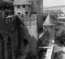 Walls and guard towers at Carcassonne France by Paul Pasco