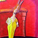 299 - MODIGLIANI BUNNY - DAVE EDWARDS - COLOURED PENCILS &amp; INK - 2010 by BLYTHART