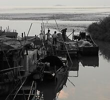 Disappearing Heritage - Preparing the Nets by Mark Bolton