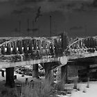 Broken Bridge - in Black and White by L J Fraser