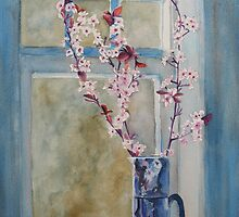 Cherry Blossoms in a Blue Pitcher  by JennyArmitage