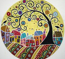 Houses Birds And A Swirl Tree by karlagerard