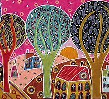Houses Trees Whimsical Landscape by karlagerard
