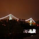 Lions Gate Bridge at Night .... Vancouver BC by AnnDixon