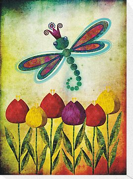 Dragonfly & Tulips by sandygrafik