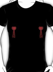 Red heart nipple tassels T-Shirt