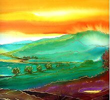 Golden Valley - Fantasy Landscape by © Linda Callaghan