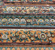 On the walls of the Chedis of Wat Pho, Bangkok by Indrani Ghose