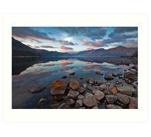 Sunrise over Derwent water Art Print