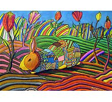 301 - PATCHWORK BUNNY - DAVE EDWARDS - COLOURED PENCILS & INK - 2010 Photographic Print