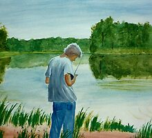 Boy Fishing at a lake in Summertime in Virginia acrylic painting by Rick Short