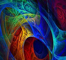 Midnight Blue Fractal by Julie Everhart