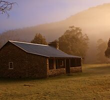 Misty dawn over GeeHe Hut, Kosciusko Nat. Park, Australia by Michael Boniwell