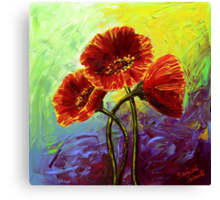 Red Poppy Trio Canvas Print
