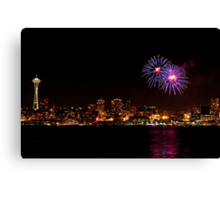 Fireworks in Seattle (with Space Needle) Canvas Print