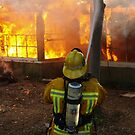 Firefighter from Engine 44 working at a training fire, image 2 by chibiphoto