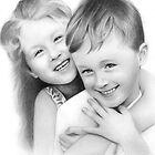 The Twins (Pencil Portrait) by Jo Holden