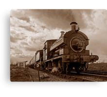 Steam train passing in Sepia Canvas Print