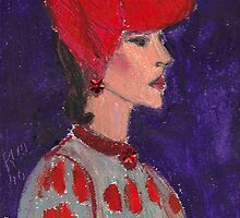 Red Hat Woman No #2 1940's by RobynLee