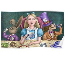 alice with the mad hatter and march hare Poster