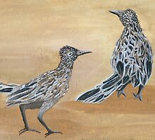Ain't Life Grand ~ Roadrunner Pair ~ Oil Painting by Barbara Applegate