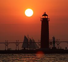 Lighthouse Sunset on Lake Michigan by Bruce McEntyre