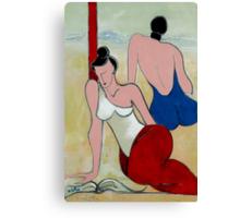 Girl Friends - On the Beach Canvas Print