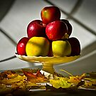 Fruit bowl with autumn leaves - Print by Mark Podger