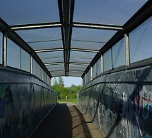 A footbridge over the DART in Dublin Ireland  by ciaramc31