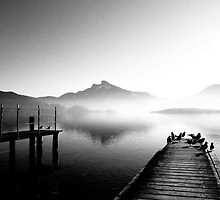Mondsee with morning fog by Klaus Offermann