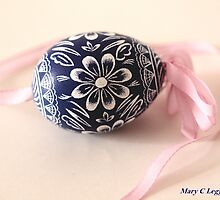 traditional hand-painted blue Czech Easter egg with sunflower motif by pogomcl