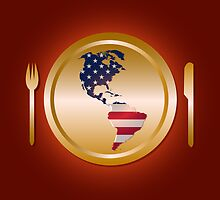 American flag continent shaped like on golden plate by catrinel