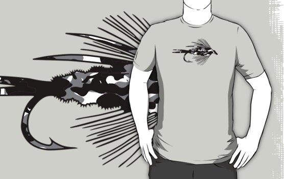 Black Camo Fly - Fly fishing t-shirt by Marcia Rubin
