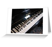 Flute on Piano Keyboard Greeting Card