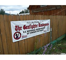 Cowboy Fastdraw Competition Sign. Photographic Print